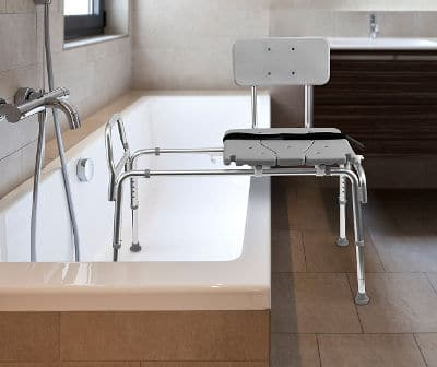 a sliding transfer bench allows low mobility or frail seniors to safely and easily get into the tub